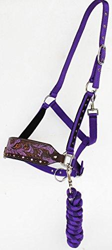 PRORIDER Horse Noseband Tack Bronc Leather Nylon Halter Tiedown Lead Rope Purple 280M19