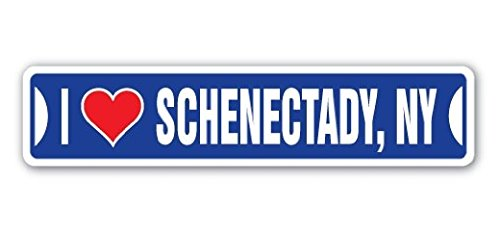 Ny Street Sign (I LOVE SCHENECTADY, NEW YORK Street Sign Ny City State Us Wall Road DÃcor Gift - 22'' Long Sticker Graphic - Auto, Wall, Laptop, Cell Sticker)