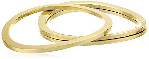 [Gold-Tone Set of Three Wave Bangle Bracelet] (Arm Candy Costume)