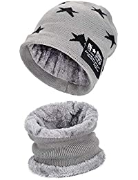 4754cae23cb Winter Knitted Beanie Hat and Neck Warmer Scarf Set 2 Pcs for Kids Boys  Girls