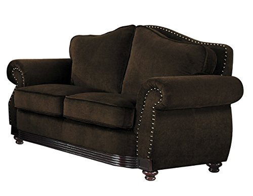 Homelegance Midwood Sophisticated Loveseat with Nail Head Accent Chenille, Chocolate
