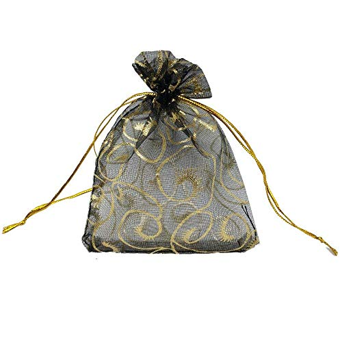 100pcs Sheer Organza Bag Eyelash Print Wedding Favor Bags 3.5x4.5'' Luxury Jewelry Candy Gift Card Bags with Gold Line Drawstring Pouches (Black) -