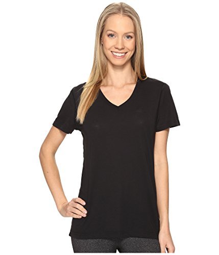 adidas Womens Training Ultimate Short Sleeve V-Neck Tee, Black/Black, X-Large