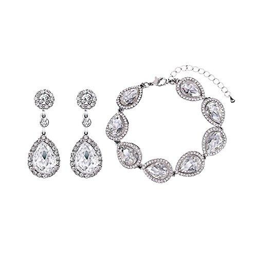 Flower Teardrop Clear/Black Jewelery Set for Women or Wedding Austrian Crystal(1 Set Earring,1PCS Bracelet) (Earrings And Bracelet Set)