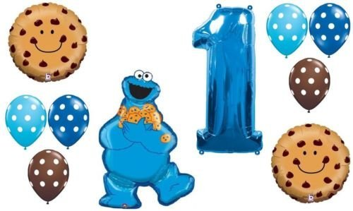 LoonBalloon COOKIE MONSTER Choc Chip Dots First 1st Birthday Party Mylar & Latex BALLOON Set by - Cookie Birthday 1st Monster