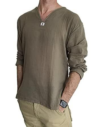 Love Quality Men's Summer T-Shirt 100% Cotton Hippie Shirt V-Neck Beach Yoga Top (Small, Brown)