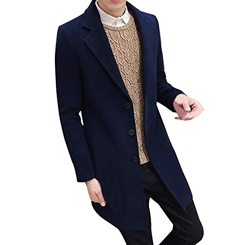 Toimothcn Men Single Breasted Pea Coat Formal Business Blazer Suit Long Jacket Outwear (Navy,L)