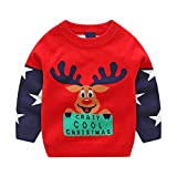Crib and Dresser Combo Sale residentD  Baby Clothes,Toddler Unisex Christmas Deer Letter Splice Knitted Sweater (5-6 Years, Red)