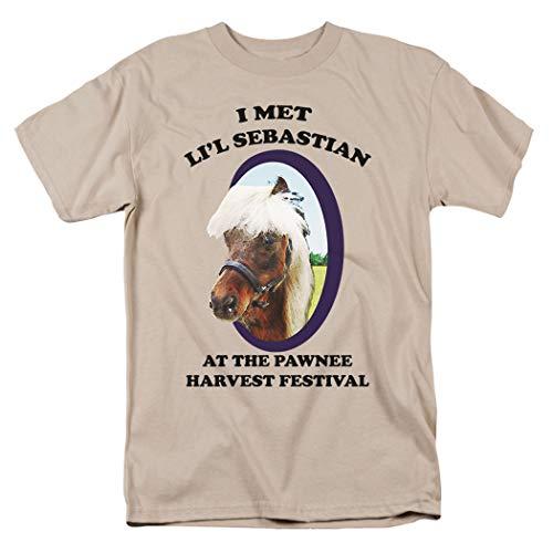 Popfunk Parks & Rec Pawnee's Horse Li'l Sebastian Tan T Shirt & Exclusive Stickers (XXX-Large)]()