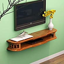 Shelf Wall Shelf Wall-Mounted TV Cabinet Shelf TV Background Wall Decoration Shelf Television Set-top Box DVD Player Router Storage Rack (Color : Brown122cm)
