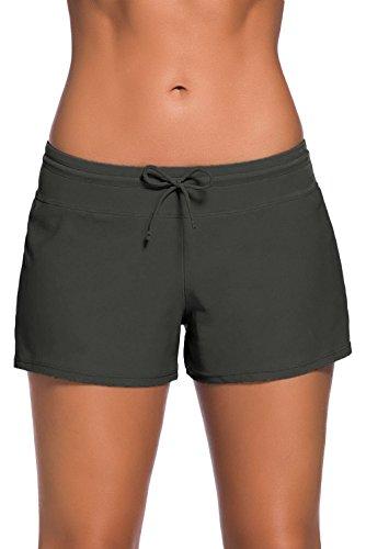 Lukis Damen Hot Pants mit Hoher Taille Kurze Bikinihose Grau 2PWF1ba1