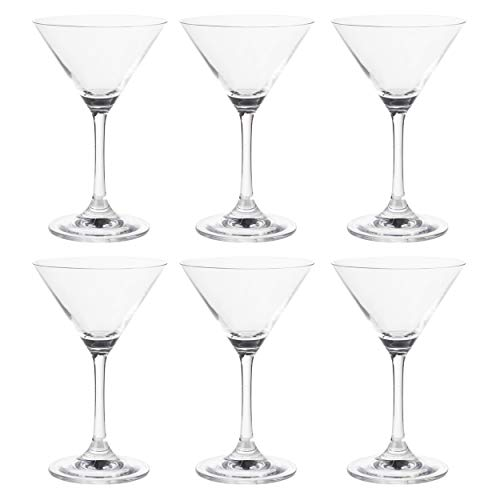 Martini Glasses - 6-Set Clear Classic 5-Ounce Cocktail Glasses, Inverted Cone Shaped Stemware, Bar Accessories, Ideal Gifts for Housewarming, Wedding, Birthday Celebrations