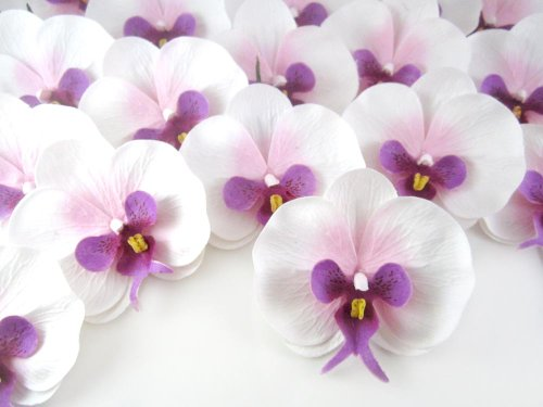 100-White-Purple-Phalaenopsis-Orchid-Silk-Flower-Heads-375-Artificial-Flowers-Heads-Fabric-Floral-Supplies-Wholesale-Lot-for-Wedding-Flowers-Accessories-Make-Bridal-Hair-Clips-Headbands-Dress