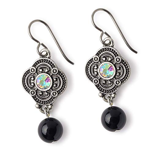 Black Pearl Earrings for Women Vintage Dangle (Antique Pearl Earrings)