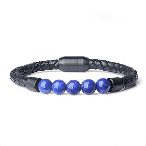 - AmorWing Chakra Stone Lapis Lazuli Magnetic Clasp Leather Mala Prayer Bracelet