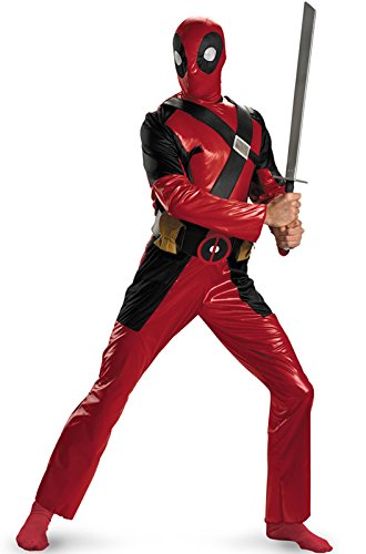 Disguise Men's Marvel Universe Deadpool Adult Costume, Burgandy/Black, X-Large/42-46