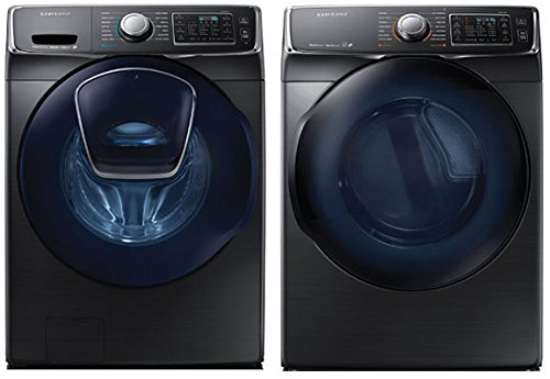 "Samsung Innovative ""ADD-A-WASH"" Laundry System Feauturing 27 Inch 4.5 cu. ft. Front Load Washer with Super Speed and Matching ELECTRIC Dryer in Luxurious Black Stainless Steel"