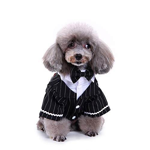 Collar Bowknot Stripe - Brave669 Lovely Stripe Bowknot Pet Dog Puppy Shirt Tuxedo Wedding Costume Apparel Outfit M