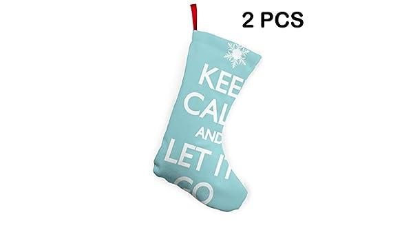 Keep Calm And Let It Go Santa Xmas Socks 2Pcs Set Christmas Stockings Decorations