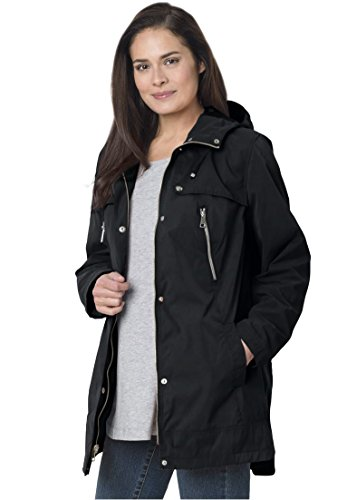 Women's Plus Size Hooded A-Line Jacket Black,1X