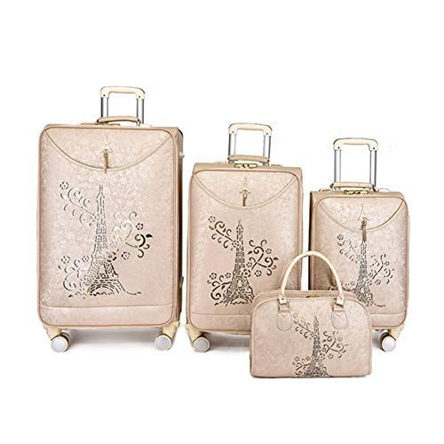 Luggage With Spinner Wheels Luggage 4 Piece Set Suitcase Spinner Softshell 20in 24in 28in Softside Carry-on Expandable Uprights Suitcase Softshell ( Color : Beige , Size : 20in+24in+28in+handbag )