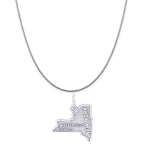 Rembrandt Charms Sterling Silver Buffalo Niagara Falls NY Map Charm on a Rope Chain Necklace, 20