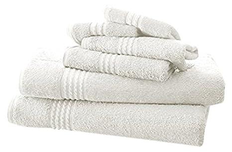 Costa del Pacífico Textiles Juego de Toallas de bambú, Color Blanco, único, Juego de 6: Amazon.es: Hogar