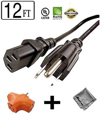 Amazon.com: 12 ft de largo cable de alimentación para HP ...