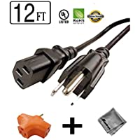 12 ft Long Power Cord for HP COLOR LASERJET 4700DN PRINTER + 3 Outlet Grounded Power Tap