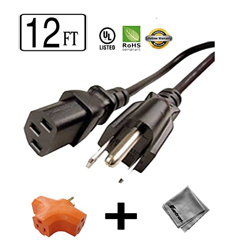 (12 ft Long Power Cord for Color LaserJet 5550dn Printer + 3 Outlet Grounded Power Tap)
