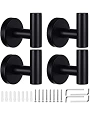 4 Pack Towel Hooks, VIPITH Wall Coat Hook Bathroom Matte Black Robe Hook SUS 304 Stainless Steel Heavy Duty Door Hanger Clothes Cabinet Closet Sponges Hook Shower Robe Hand Hooks for Bathroom