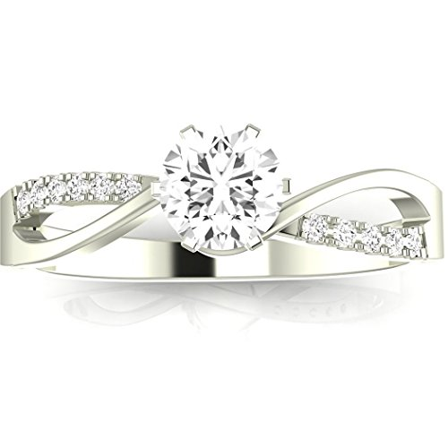 1.24 Carat t.w. ROUND Shape/Center Silver Elegant Twisting Split Shank CZ Engagement Ring -