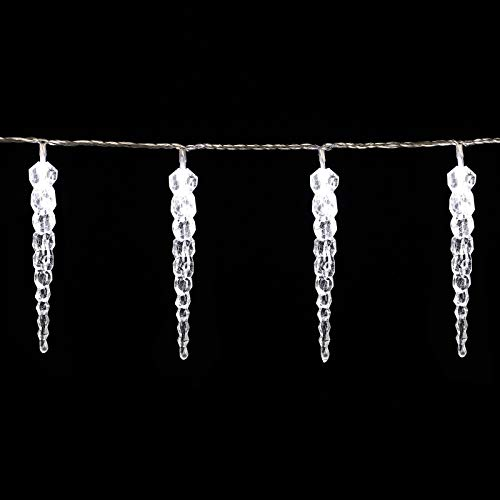 Monzana Led-lichtsnoer, ijspegels, koudwit, voor binnen en buiten, 80 kegels, 13 m, kerstdecoratie, ijsregen…
