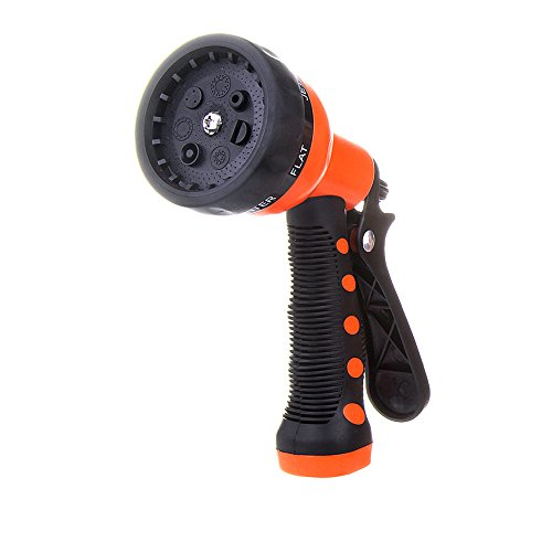 Garden Hose Nozzle Sprayer - Front Trigger - 7 Different Spray Settings - Heavy Duty Sprinklers High Pressure Washer Nozzle with Flow Control Setting Knob, Best Lawn Sprayer Car Washer (1Pc) ()