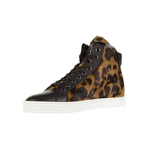 Hogan Rebel Hi Top Sneakers Donna HXW1820I6519FO2750 Cavallino Marrone/Nero