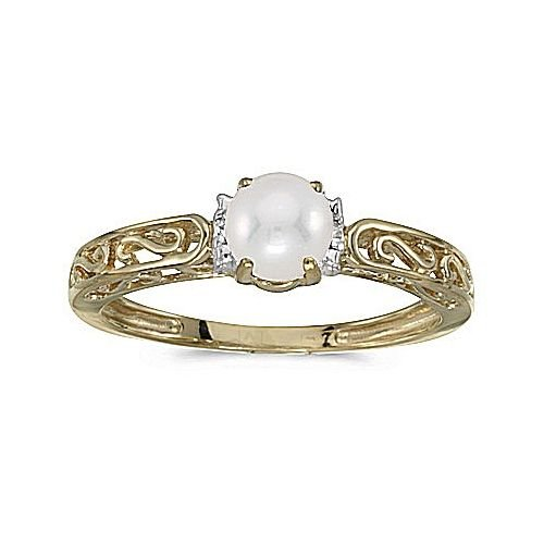 14kt Ring Pearl Ladies Gold (14kt Yellow Gold Cultured Pearl and Diamond Ring)