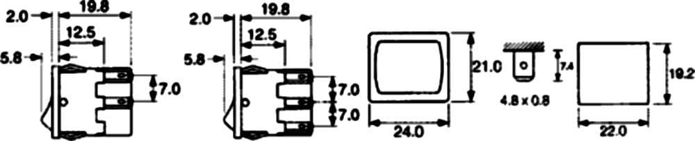 Interruttore pulsante a bilanciere DPST ON-OFF 10A//250V 2 posizioni rosso C10700 AERZETIX
