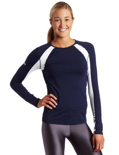 ASICS Women's Heater Long Sleeve Jersey, Navy/White, X-Small