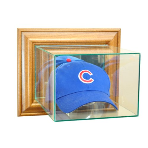 (Perfect Cases MLB Wall Mounted Cap/Hat Glass Display Case, Walnut)