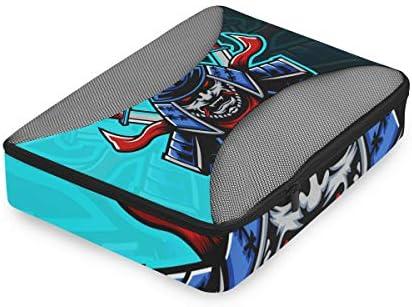 ブルーダークソードナイト荷物パッキングキューブオーガナイザートイレタリーランドリーストレージバッグポーチパックキューブ4さまざまなサイズセットトラベルキッズレディース