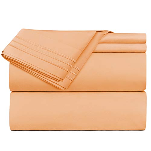 Nestl Bedding 4 Piece Sheet Set - 1800 Deep Pocket Bed Sheet Set - Hotel Luxury Double Brushed Microfiber Sheets - Deep Pocket Fitted Sheet, Flat Sheet, Pillow Cases, Full - Light Orange ()