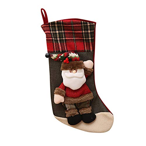 Chenway Classical Christmas Stockings Super Cute Socks Hanging in Xmas Tree Home Restaurant Hotel Decorations and Party Supplies, Burlap Stuffed Toys Candy Gift Bag Holders for Kids (A)
