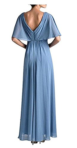 Long Neck Chiffon Line V of Grey A The Dress Dress Bride Evening Mother Women's Dressylady Prom UHIqXS