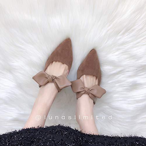 Word Yukun Slippers Stiletto Stitching Light zapatos tacón Pointed de Female Heel Temperament Brown Bow alto Suede Sandals UFUw0q7