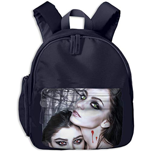 Halloween Vampire Fantasy Girl Blood Gothic Goth Children Backpack Pocket Zipper Outdoor Travel School Book Bag ()