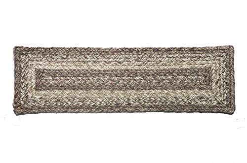 IHF Home Decor Ashwood Jute Braided Stair Tread Rectangle Rug 8 x 28 ()