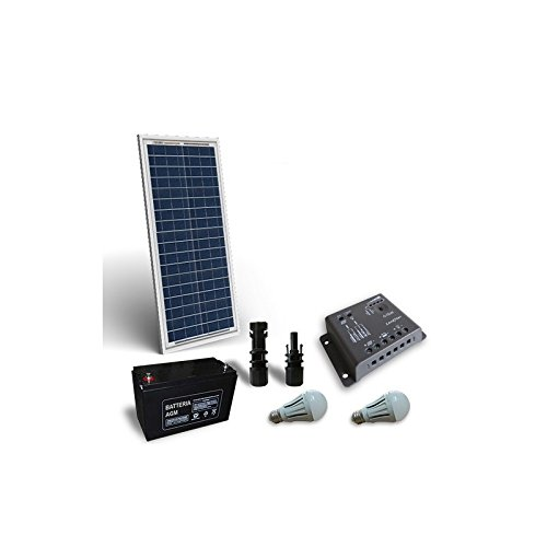 Kit Solare Illuminazione LED 30W 12V per Interni Fotovoltaico PuntoEnergia Italia KIL-30