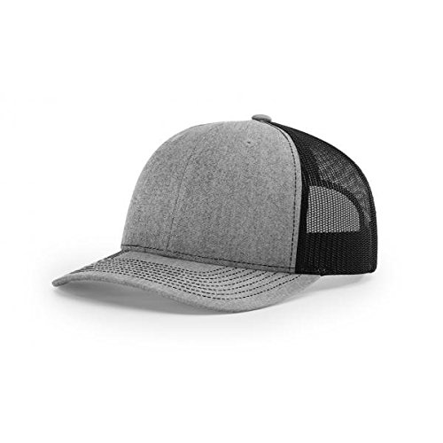 Richardson Heather Grey/Black 112 Mesh Back Trucker Cap Snapback Hat (Black Mesh Back Cap)