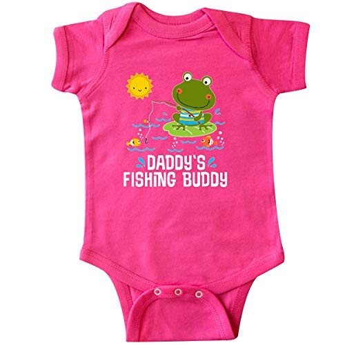 inktastic - Daddys Fishing Buddy Cute Frog Infant Creeper Newborn Hot Pink 35705