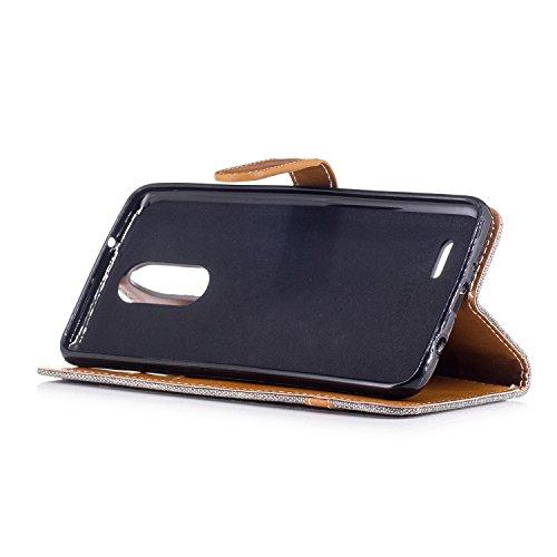 Para LG K8 2017 funda, (Vaquero rosa roja) Dril de algodón de colores mezclados caja del teléfono móvil de cuero PU Leather cubierta Función de Soporte Billetera con Tapa para Tarjetas correa de mano  Vaquero gris